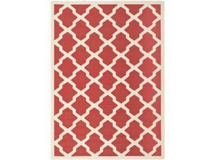 Safavieh Contemporary Indoor/ Outdoor Courtyard Red/ Bone Rug (8' x 11')