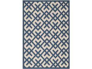 Safavieh Indoor/ Outdoor Courtyard Crisscross Pattern Navy/ Beige Rug (4' x 5'7'')