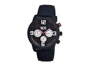 Mos Men's Paris Black Dial Black Silicone Analog Chronograph Watch