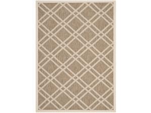 Safavieh Indoor/ Outdoor Polypropylene Courtyard Brown/ Bone Rug (4' x 5'7)