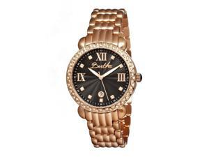 Bertha Women's 'Ruth' Rose Gold-Tone Black Dial Stainless Steel Watch