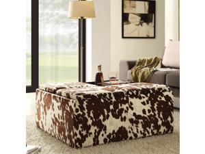 TRIBECCA HOME Decor Brown White Cow Hide Storage Ottoman