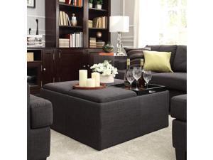 INSPIRE Q Montrose Dark Grey Linen Storage Cocktail Ottoman