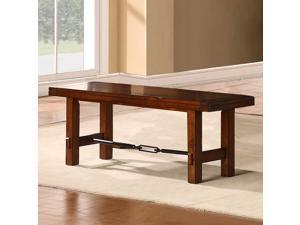 TRIBECCA HOME Swindon Rustic Oak Turnbuckle Dining Bench