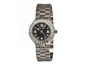 Bertha Women's Evelyn Black Stainless Steel Silvertone Analog Watch