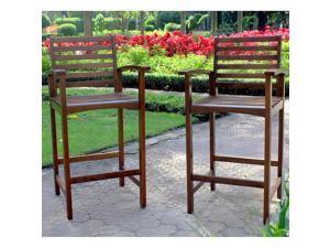 International Caravan Maine Acacia Hardwood Outdoor Bar-height Armchairs (Set of 2)
