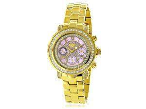 Luxurman Women's 'Montana' Yellow Gold-plated Diamond Accent Pink Watch