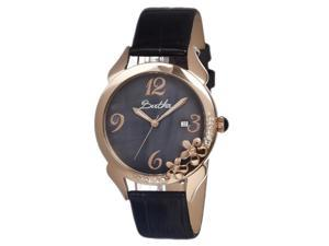 Bertha Women's Daisy Black Leather Black Analog Watch