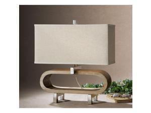 Medea Wood Metal Fabric Table Lamp