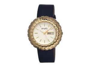 Simplify Women's The 2100 White Leather Black Analog Watch