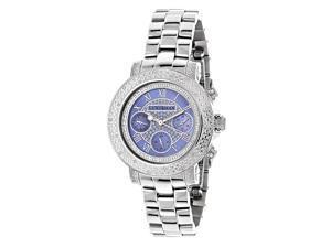 Luxurman Women's 1/3ct TDW White Diamond Blue Mother of Pearl Watch