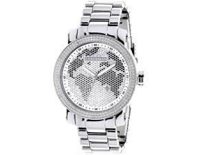 Luxurman Men's Diamond 0.12 ct Black White Map Watch