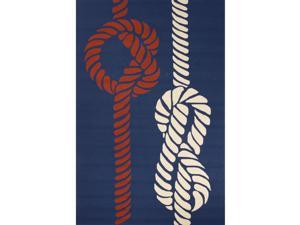 Handmade Abstract Pattern Blue/ Red Polypropylene Area Rug (7'6x9'6)