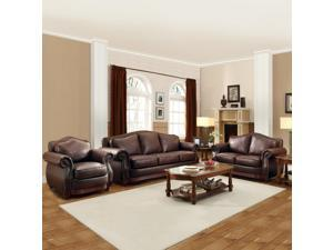 TRIBECCA HOME Myles Traditional Chocolate Bonded Leather Rolled Arm 3-piece Sofa Set