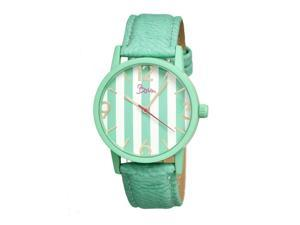 Boum Women's Gateau Multi Leather Turquoise Stripe Analog Watch