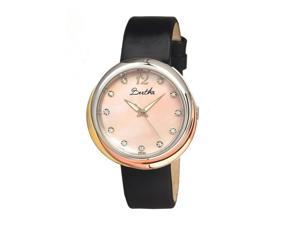 Bertha Women's Jean Pink Leather Black Analog Watch