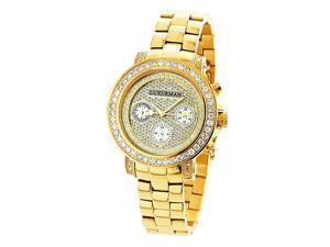 Luxurman 2ct TDW Diamond Women's Yellow Goldplated Montana Watch