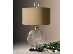Catalan Resin Mesh Metal Base Bronze Fabric Table Lamp