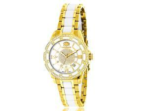 Luxurman Women's 'Galaxy' Yellow Gold Ceramic 1.25ct Diamond Watch