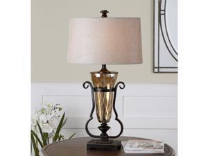 Aemiliana Light Amber Glass Crisp Beige Fabric Table Lamp