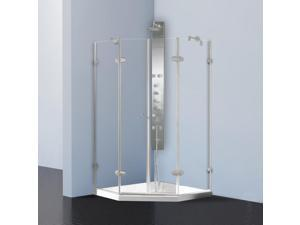 VIGO 42 1/8 x 42 1/8-inch Frameless Neo-angle Clear/ Brushed Nickel Shower Enclosure with Low-profile Base
