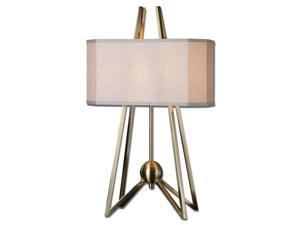 Andar Plated Coffee Metal Rusted Beige Fabric Table Lamp