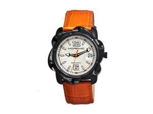 Morphic Men's 'M12 Series Black' Orange Leather Silvertone Dial Watch