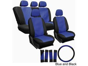 Oxgord PU Synthetic Leather 17-Piece Seat Cover Set - Blue