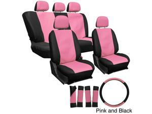 Oxgord PU Synthetic Leather 17-Piece Seat Cover Set - Pink