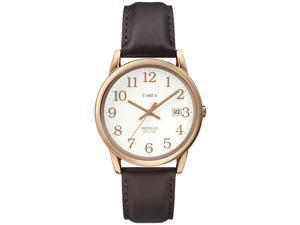 Timex Men's | Rose Gold-Tone Case Brown Leather Strap | Easy Reader Watch T2P563