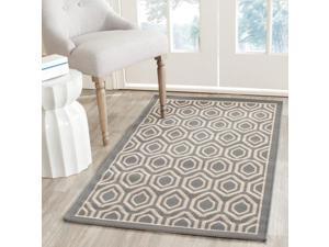 "Safavieh Courtyard Anthracite/Beige Geometric Pattern Indoor/Outdoor Rug (4' x 5'7"")"