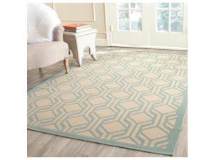 Safavieh Indoor/ Outdoor Courtyard Beige/ Aqua Rug (8' x 11')