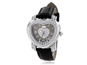 Luxurman 1/3ct TDW Diamond Women's Heart Black Mother of Pearl Watch