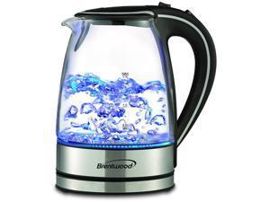 Brentwood Stainless Steel KT-1900BK Royal 1.7-liter Cordless Tea Kettle, Blue LED