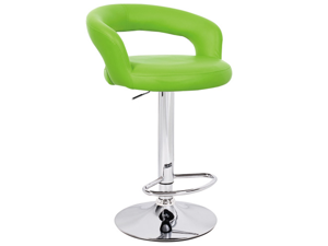 "Set of 2 Halo ""Leather"" Contemporary Adjustable Barstool - Lime Green"