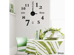 Modern Home Self Adhesive DIY 3D Wall Clock - Linus