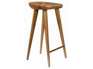 Tractor Contemporary Carved Wood Barstool - Walnut Finish