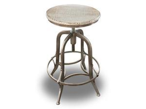 Chester Retro Steel Rotating Adjustable Height Barstool - Pewter