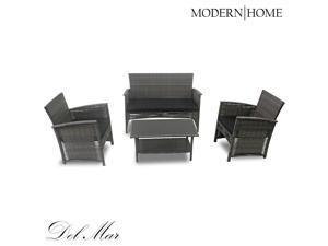 Modern Home Del Mar Woven Wicker 4pc Patio Set - Gray/Black