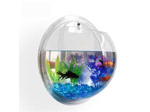Fish Bubble Wall-Mounted Fish Tank Aquarium Kit with Plant and Rocks
