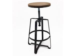 Set of 2 Turner Retro Adjustable Contemporary Steel/Wood Barstool