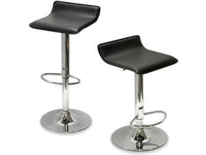 "Sigma Contemporary ""Leather"" Adjustable Barstool - Black Licorice"