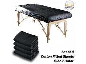 Royal Massage Set of 4 Cotton Flannel Massage Table Fitted Sheets - Black