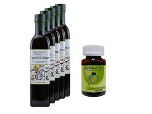 Maria Treben's Authentic Swedish Bitters (16.9oz/500ml) x 5 AND Episolve GI - Alternative Heartburn Cures (60 capsules)