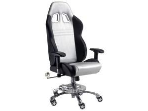 Intro-Tech Automotive GP1000S Grand Prix SILVER Racing Desk Chair With Lifetime Warranty