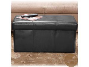 Christopher Knight Home 232218BLK Nottingham Leather Storage Ottoman Bench - Black