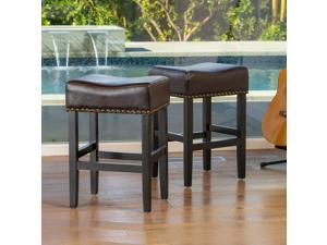 Christopher Knight Home Lisette Brown Leather Backless Counter Stools (Set of 2)
