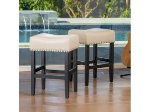 Christopher Knight Home Lisette Backless Ivory Leather Counter Stools (Set of 2)