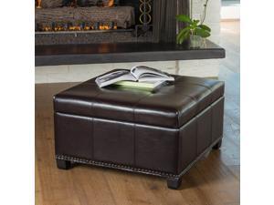 Christopher Knight Home Shauna Espresso Leather Interior Tray Storage Ottoman