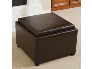 Christopher Knight Home Wellington Leather Tray Top Ottoman